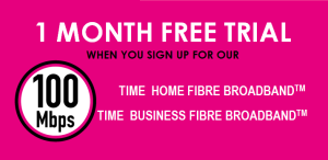 time fibre broadband promotion - free trial